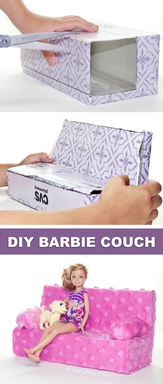 How to Make An Easy DIY Barbie Couch -- Lots of easy barbie doll crafts for kids and projects here! Cute craft ideas for girls to make for their dolls and Barbies. #kidskubby