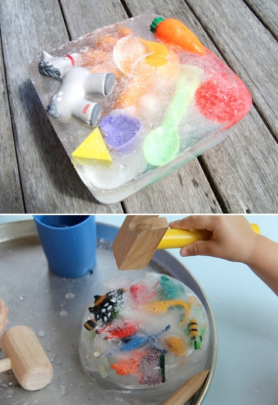 5 fun things to do with ice! Excavating toys. :)
