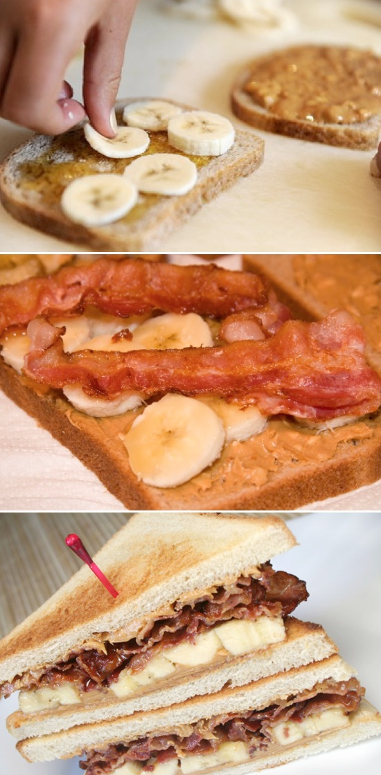 Grilled peanut butter banana and bacon sandwich! Serious comfort food.