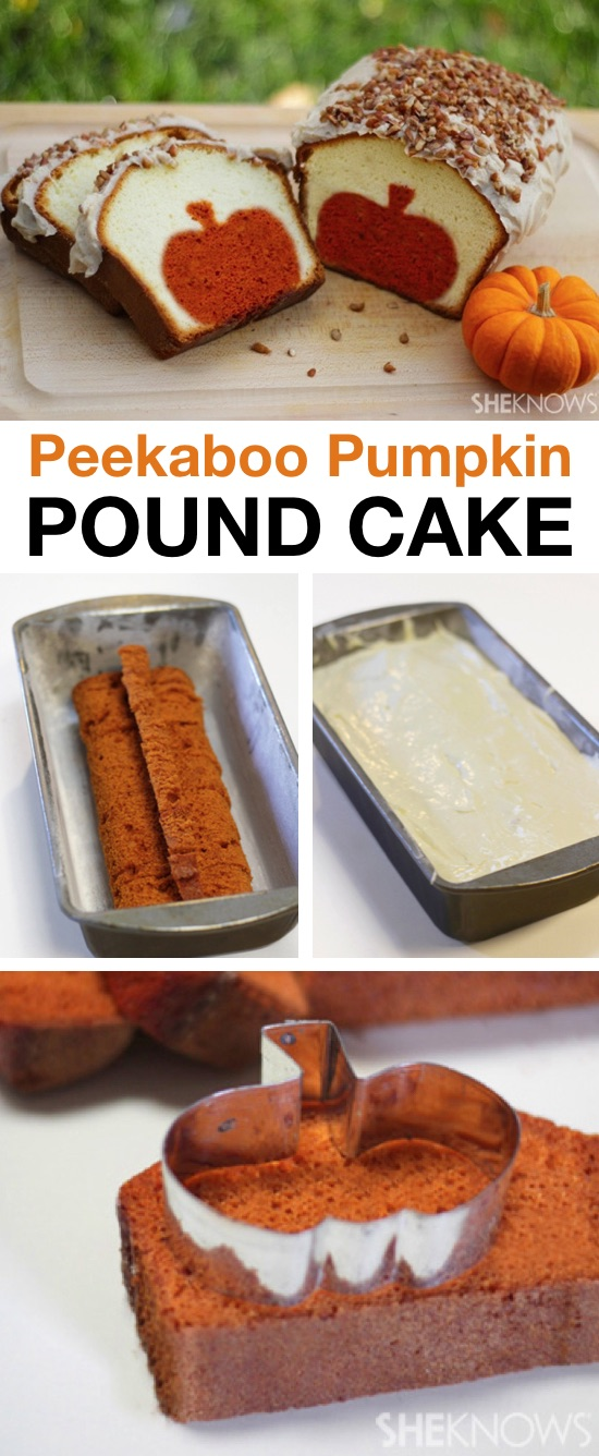 Looking for easy pumpkin fall desserts? Check out this fun and creative peekaboo pumpkin pound cake! Your family is going to love this fall inspired dessert idea. It's quick, easy and simple to make with common ingredients. Great gift idea for coworkers, neighbors and friends.