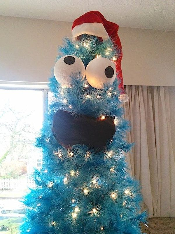 5 Christmas Tree Ideas Kids and Adults Will Both Love -- So easy and cute! A Cookie Monster Christmas tree.